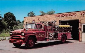 B76/ Nimmonsburg New York NY Postcard Chrome Fire Department Truck Firemen