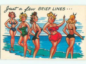 Pre-1980 Risque Comic LINE OF SEXY GIRLS AT THE BEACH AB7012-12