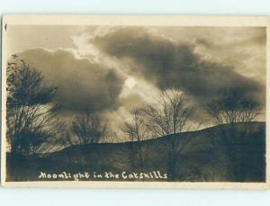 1913 rppc MOONLIGHT OVER THE HILL Catskills - Postmarked Ashland NY HM2615