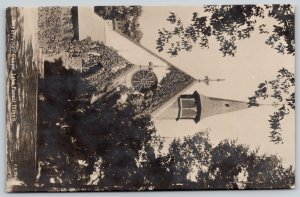 Lake Forest IL~Polygon Tower on Ferry Hall Chapel~Round Window RPPC Rotograph