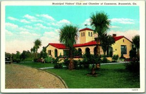 1940s Brunswick Georgia Postcard Municipal Visitors' Club / Chamber of Commerce
