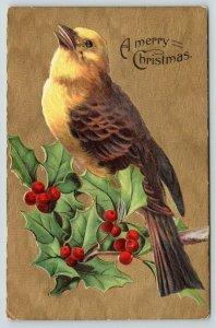Christmas Bird~Yellow Breast Bird on Holly Berry Branch~Gold Back Emboss~G-A Art