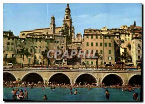 Modern Postcard The French Riviera Menton Old Town Beach and Church of St Mic...