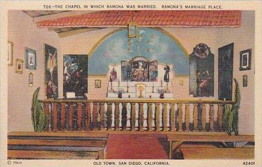 California San Diego The Chapel in Which Ramona Was Married Ramona Marriage P...