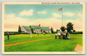 St Paul Minnesota~Keller Golf Course~Club House~Golfers At the Board~1936 Linen