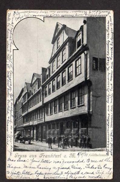 Germany Gruss aus Frankfurt a M Gothehaus Postcard Johann Wolfgang Goethe