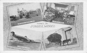 Juarez Mexico~Multi Mini View~Race Track~Mission~Market~Wood Hauler~1920s B&W