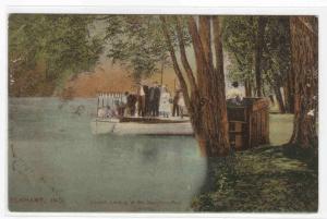 Motor Launch Landing McNaughton Park Elkhart Indiana 1910c postcard
