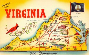 LPM42 Virginia Map Chrome Postcard Mother State of Presidents