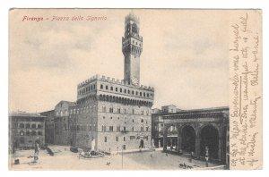 Italy Firenze Piazza della Signoria Florence Antique Postcard Posted 1907