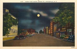 Statesville North Carolina~Broad Street~Night Lights~Full Moon~1940s Postcard