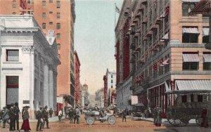 Fourth Street Looking West Los Angeles California 1910c postcard