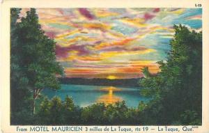 W/B Scenic Ad for Motel Mauricien near La Tuque QC Quebec