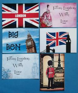 Set of 6 London Postcards England City Big Ben Union Jack Flowers Love Greetings