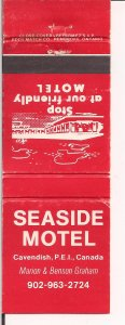 Matchbook Cover ! Seaside Motel, Cavendish, Prince Edawrd Island, Canada !.  !