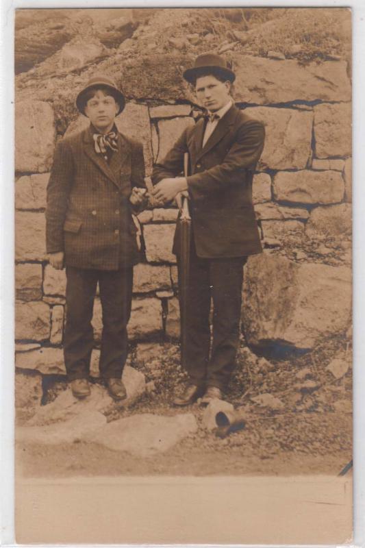 RPPC, Two Men, 1 with a Double Barrel Shotgun