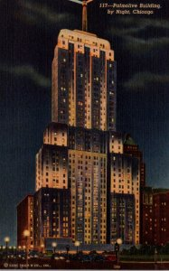 Illinois Chicago The Palmolive By Night Curteich
