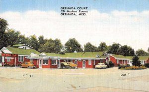 Grenada Mississippi birds eye view Grenada Court motel antique pc BB2977