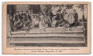 1912 Stockton Commercial College Drum Corps and Students in the Parade Postcard
