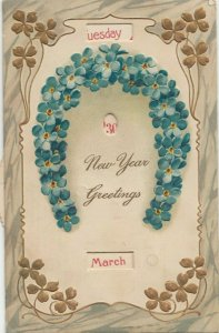 NEW YEAR , 1908 ; Pinwheel calendar , Horseshoe flowers , PFB 7972