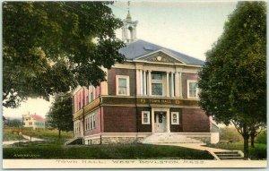 1910s WEST BOYLSTON, Massachusetts Hand-Colored Postcard TOWN HALL Street View