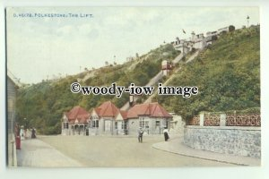 tp9588 - Kent - Early View of the Lift in use, on Folkestone Seafront - postcard