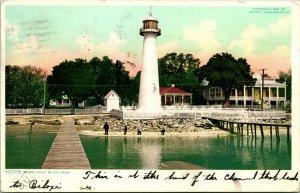 Vtg Postcard 1906 Biloxi Mississippi Light House Phostint