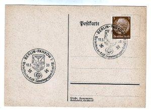 P1265 1939 WWII germany nazi swastika history postcard special cancel pankow