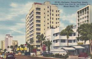 Florida Miami Beach Looking North From 61st Steet On Collins Avenue Curteich