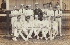 Grammar School Cricket Team Sports Real Photo Vintage Postcard AA1747