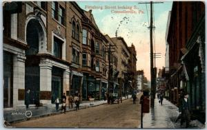 Connellsville, Pennsylvania Postcard Pittsburg Street Looking South 1912
