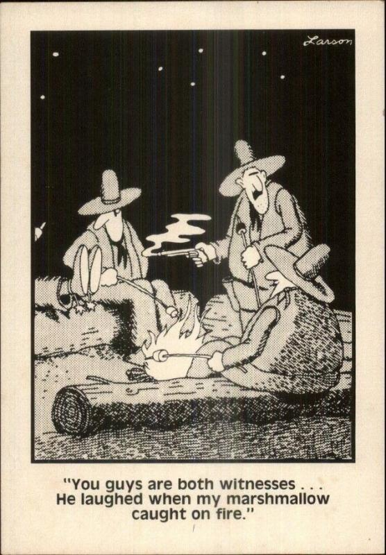Vintage Gary Larson FAR SIDE 1980s Postcard gfz COWBOYS ROASTING ...