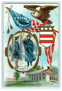 George Washington Home Coat of Arms Eagle Embossed 1909 Vintage Postcard