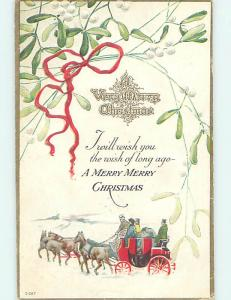 Pre-Linen christmas HORSE-DRAWN WAGON WITH MISTLETOE HQ6822