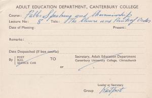 Canterbury College New Zealand Public Speaking Course Old Postcard