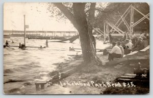 Lake View Iowa~Black Hawk Lake~Crowded Lakewood Park Beach~Chutes~c1915 RPPC