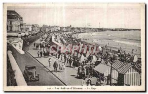 Old Postcard The Sands of Olonne Beach