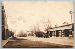 Brainard Nebraska~Main Street~Garage~Drug Store~Horse Buggy~1924 Real Photo~RPPC