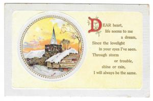 Motto Love Postcard Church with Steeple Vintage Winter Scene