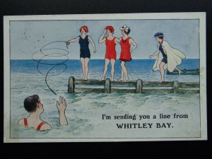 Northumberland WHITLEY BAY I'm Sending You a Line c1914 Postcard by A.C. Redman