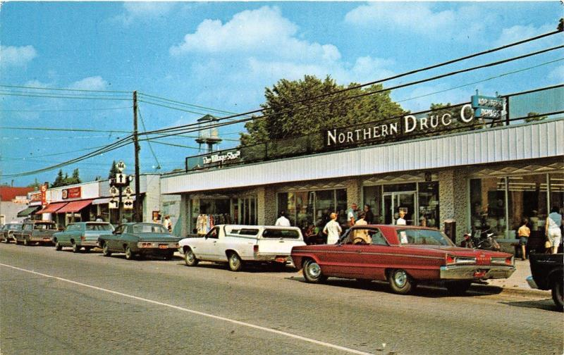 Roscommon Michigan~Downtown Street Scene~Northern Drug~Road Signs~1960s Cars