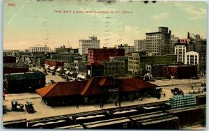Oklahoma City OKC Postcard THE SKY LINE Railroad Train Depot View 1913 Cancel