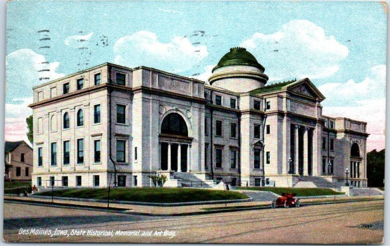 Des Moines, Iowa Postcard State Historical, Memorial & Art Building1913 Cancel