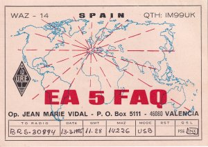 Valencia Spain QSL Map Of Radio Waves Postcard Style QSL Card