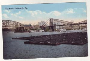 P201 JLs 1907-15 postcard the point coal barges pittsburg pa