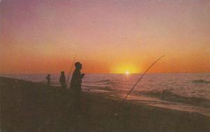 Fishermen Fishing Off the Shores of Cape Cod Bay at Sunset, Massachusetts