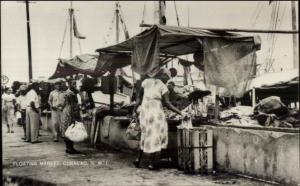 Curacao NWI Floating Market Real Photo Postcard