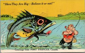 Fort Frances ON~Man Catches* Exaggerated Fish~They Are Big~Believe It Or Not~'53