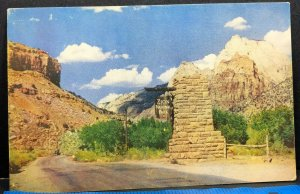 Entrance Gate Zion National Park Vintage Postcard 1950s