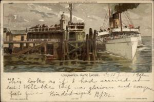 Cuxhaven Germany Alte-Liebe Steamship at Dock c1900 Postcard